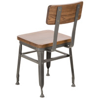 BFM Seating JS22CASH-CL Lincoln Clear Coated Steel Side Chair with Autumn Ash Wooden Back and Seat