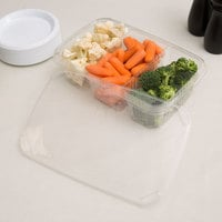 Polar Pak 5RH076-3P-C 11 inch x 7 inch Clear 3 Compartment Plastic Deli Platter / Catering Tray with Lid - 10/Pack