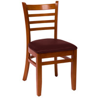 BFM Seating LWC101CHBUV Burlington Cherry Colored Beechwood Side Chair with 2 inch Burgundy Vinyl Seat