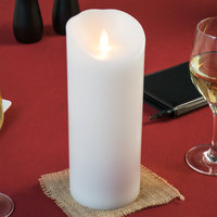 Sterno 60160 Mirage 9 1/2 inch White Programmable Flameless Flickering LED Candle - 4/Case