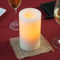 Sterno Products 60142 6 inch Cream Programmable Flameless Real Wax Pillar Candle - 6/Case
