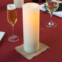 Sterno 60146 10 inch Cream Programmable Flameless Real Wax Pillar Candle - 4/Case