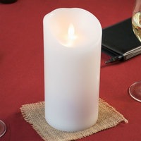Sterno 60158 Mirage 7 1/2 inch White Programmable Flameless Flickering LED Candle - 6/Case