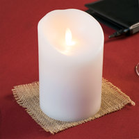 Sterno 60156 Mirage 5 1/2 inch White Programmable Flameless Flickering LED Candle - 6/Case