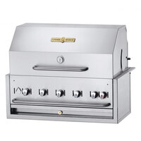 Crown Verity BI-36PKG Natural Gas 36 inch Stainless Steel Built In Outdoor BBQ Grill / Charbroiler with Roll Dome Package