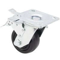 Avantco 17816465 4 inch Swivel Plate Caster with Brake