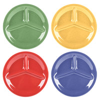 GET CP-10-MIX Diamond Mardi Gras 10 1/4 inch Three Compartment Melamine Plate, Assorted Colors - 12/Case