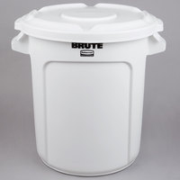 Rubbermaid BRUTE 10 Gallon White Round Ingredient Bin / Trash Can and Lid