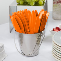 Creative Converting 010614B 7 1/2 inch Sunkissed Orange Heavy Weight Plastic Knife - 50/Pack