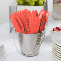 Creative Converting 010146 7 1/2 inch Coral Heavy Weight Plastic Knife   - 24/Pack