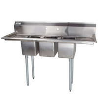 Regency 58 inch 16-Gauge Stainless Steel Three Compartment Commercial Sink with 2 Drainboards - 10 inch x 14 inch x 10 inch Bowls