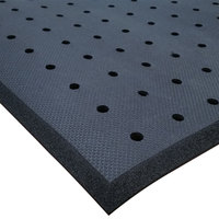 Cactus Mat 2200R-C4H Cloud-Runner 4' x 75' Black Grease-Proof Rubber Floor Mat Roll with Drainage Holes - 3/4 inch Thick