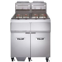 Vulcan 2GR45MF-2 Liquid Propane 90-100 lb. 2 Unit Floor Fryer System with Millivolt Controls and KleenScreen Filtration - 240,000 BTU