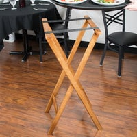 Lancaster Table & Seating 18 1/2 inch x 17 inch x 38 inch Folding Wood Tray Stand Light Brown