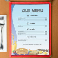 8 1/2 inch x 11 inch Menu Paper - Coffee Shop Themed Table Setting Design Left Insert - 100/Pack