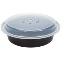 Pactiv Newspring NC723B 24 oz. Black 7 inch VERSAtainer Round Microwavable Container with Lid - 150/Case