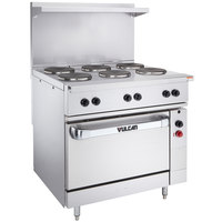 Vulcan EV36S-6FP480 Endurance Series 36 inch Electric Range with 6 French Plates and Oven Base - 480V, 17 kW