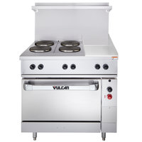 Vulcan EV36-S-4FP-12G-208 Endurance Series 36 inch Electric Range with 4 French Plates, 12 inch Griddle, and 1 Standard Oven - 208V, 16.4 kW