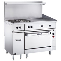 Vulcan EV48S-4FP24G480 Endurance Series 48 inch Electric Range with 4 French Plates, 24 inch Griddle, and Oven Base - 480V, 19.8 kW