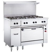 Vulcan EV48S-8FP480 Endurance Series 48 inch Electric Range with 8 French Plates and Oven Base - 480V, 21 kW