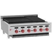 Wolf ACB36-NAT Natural Gas Low Profile 36 inch Medium-Duty Radiant Gas Countertop Charbroiler - 102,000 BTU