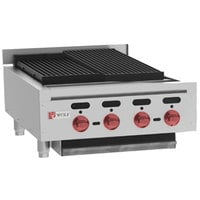 Wolf ACB25-NAT Natural Gas Low Profile 25 inch Medium-Duty Radiant Gas Countertop Charbroiler - 68,000 BTU