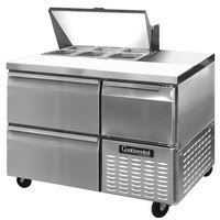 Continental Refrigerator CRA43-6-D 43 inch 2 Drawer 1 Half Door Refrigerated Sandwich Prep Table