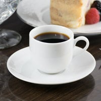 10 Strawberry Street RB0011 Classic White 3 oz. White Porcelain Ballet Espresso Cup with Saucer - 24/Case