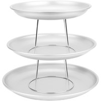 American Metalcraft 3 Tier Seafood Tower Set with Large Aluminum Trays and Stand