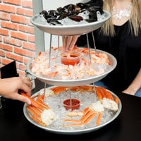 American Metalcraft 3 Tier Seafood Tower Set with Small Aluminum Trays and Stand