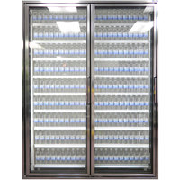 Styleline CL2472-HH 20//20 Plus 24 inch x 72 inch Walk-In Cooler Merchandiser Doors with Shelving - Anodized Bright Silver, Left Hinge - 2/Set