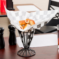 Choice 9 inch x 10 inch Black Check Wire Cone Basket Liner / Deli Wrap / Double Open Bag - 250/Pack