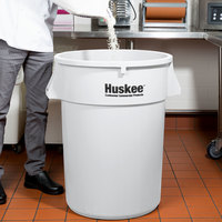 Continental 4444WH Huskee 44 Gallon White Round Trash Can