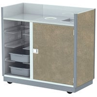 Lakeside 4612BS 49 1/2 inch Beige Suede Laminate Four Tub Mobile Bussing / Waitress Station