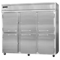 Continental Refrigerator 3FES-SS-HD 85 1/2 inch Half Door Extra Wide Shallow Depth Reach-In Freezer - 63 Cu. Ft.
