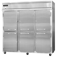 Continental Refrigerator 3FS-SS-HD 78 inch Half Door Shallow Depth Reach-In Freezer - 50 Cu. Ft.