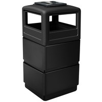 Commercial Zone 73260199 PolyTec Series Black 38 Gallon Square Three-Tier Trash Can with Ashtray Lid