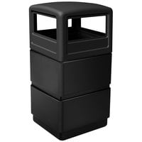 Commercial Zone 73250199 PolyTec Series Black 38 Gallon Three-Tier Trash Can with Dome Lid