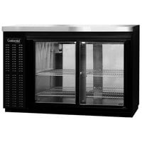 Continental Refrigerator BB50SNSGDPT 50 inch Black Shallow Depth Pass-Through Sliding Glass Door Back Bar Refrigerator