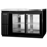 Continental Refrigerator BB50SNGDPT 50 inch Black Shallow Depth Pass-Through Glass Door Back Bar Refrigerator