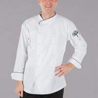Mercer Culinary Renaissance® M62020 White Lightweight Unisex Executive Customizable Chef Jacket with Black Piping - 4X