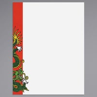 8 1/2 inch x 11 inch Menu Paper - Asian Themed Dragon Design Left Insert - 100/Pack