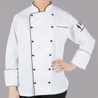 Mercer Culinary Renaissance® M62095 White Lightweight Women's Executive Customizable Chef Jacket with Full Black Piping - L
