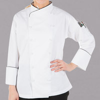 Mercer Culinary Renaissance® M62050 White Lightweight Women's Executive Customizable Chef Jacket with Black Piping - L