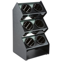 Vollrath FWVH-3X2B Black Counterop 6-Cylinder Vertical Flatware Organizer with Black Perforated Cylinders
