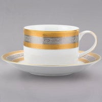 10 Strawberry Street ELE-9 Elegance 8 oz. Porcelain Can Cup with Saucer - 24/Case
