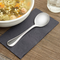 World Tableware 407 004 Calais 7 7/8 inch 18/8 Stainless Steel Extra Heavy Weight Round Soup Spoon - 12/Case