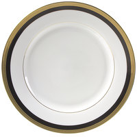 10 Strawberry Street SAH-1BK Sahara 10 3/4 inch Black and Gold Porcelain Dinner Plate - 24/Case