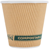 EcoChoice 8 oz. Double Wall Kraft Compostable Paper Hot Squat Cup - 500/Case
