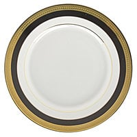 10 Strawberry Street SAH-5BK Sahara 7 inch Black and Gold Porcelain Bread and Butter Plate - 24/Case